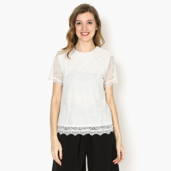 Harga GTW Party Lace Overlay Mock Neck Boxy Top (White)