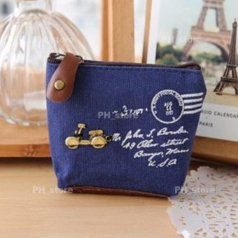 Harga PH_STORE Ladies Canvas Coin Purse Wallet Pouch (Blue With Motor Details)