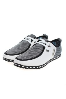 Hang-Qiao Men PU Leather Shoes Sneakers Moccasins White Price Philippines