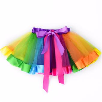 New Year Rainbow Tulle Skirts For Girls Tutu Skirts Summer Ballet Pettiskirt Girls Performance Dance Wear Price Philippines