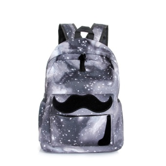 Harga Galaxy Pattern Unisex Travel Backpack Canvas Leisure Bags School Bag Gray - intl