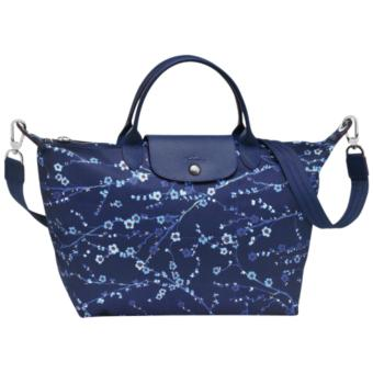 Harga LC LE PLIAGE NEO FANTAISIE SAKURA MEDIUM NAVY BLUE SHORT HANDLE LONGCHAMP