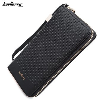 Baellerry Weave Plaid Letter Zipper Clutch Portable Wallet for Men Price Philippines