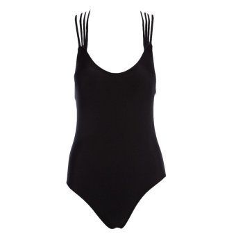 Strappy Padding Backless Swimwear One Piece (Black) Price Philippines