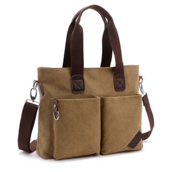 360WISH Large Capacity Canvas Handbag Tote Bag Crossbody Bag Shoulder Bag Mens Bag - Dark Khaki Price Philippines