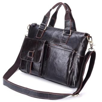 Harga Leather Men Header Layer of Leather Men's Handbag Business Bags Men's Shoulder Bag - intl