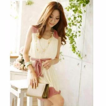 #396 Classy Korean Pastel Tie Waist Detail Chiffon Dress Price Philippines