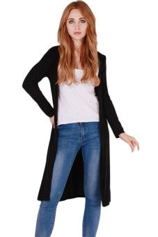 Harga Hang-Qiao Sexy Long Outwear Cardigan Long Coat Knitwear Black