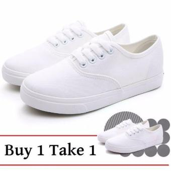 Harga Buy 2 Pairs All White Canvas Sneakers for Women - Buy 1 Take 1