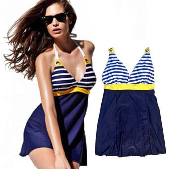 360WISH Women's Navy Style V-neck Padded One-piece Dress Swimsuit - intl Price Philippines