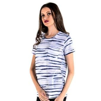 Harga OXYGEN Striped and Printed Boxy Tee (Blue)