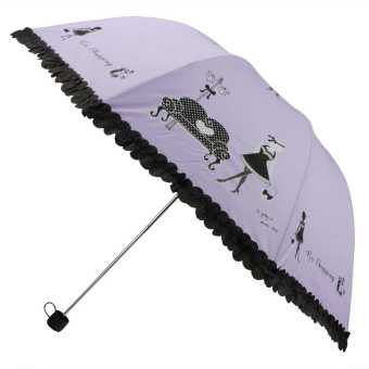 Girl Ladies Princess Vaulted 4-Fold Anti-UV Sun&Wind&Rain Proof Sweet Apollo Round Umbrellas(Purple) Price Philippines