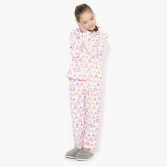 Nap Girls All-Over Owl Pajama Set (White) Price Philippines