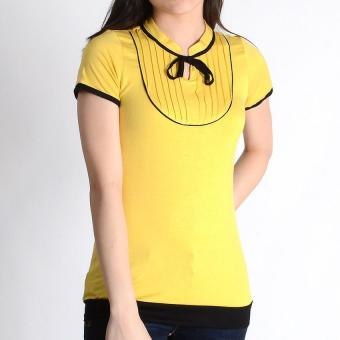 Harga Crissa S/S Japanese Cotton Blouse with Pintucks Details CLT21-296 (Mustard/Black)