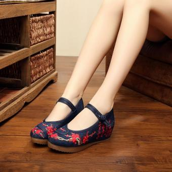 Harga Veowalk Chinese Painting Embroidered Asian Women Casual Canvas 5cm Heels Wedges Platforms Elegant Ladies Mary Janes Pump Shoes Black - intl