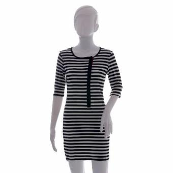 #20 Korean Striped Side Button Detail Bodycon Dress Price Philippines