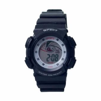 Harga New Sport Digital WR30M Multifunction Waterproof Sports Watch with LED Light for Kids (Black)