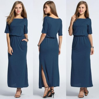MG Slash Neck Batwing Solid Side Split Maxi Long Dress(Navy Blue) - intl Price Philippines