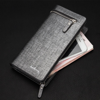 BYT Baellery Long Men's Leather Wallet with Zipper Baellery-B3393-3 (Silver) Price Philippines