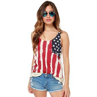 Harga Fancyqube American Flag Pattern Printed Vest Multicolor