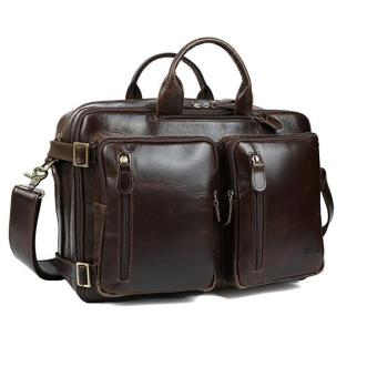 Italian imports of leather Men's Leather Backpack Multi-purpose Trip Briefcase Handbag - intl Price Philippines