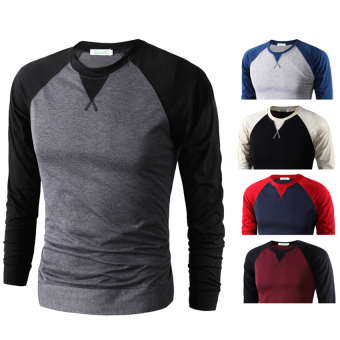 Harga O-Neck Raglan Sleeve Design Long Sleeve T-shirt For Men FM-001 (Dark Grey)