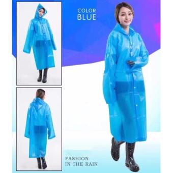 Harga Raincoat Color Women and Men General Fashion Waterproof(Blue)
