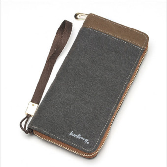 Brand designer men' wallet casual canvas long credit card purse stitching color men wallets baellerry male clutch bag (grey) - Intl Price Philippines