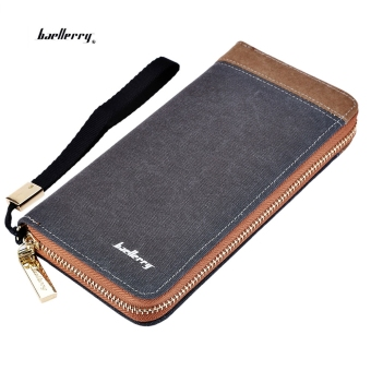 Baellerry Patchwork Canvas Portable Clutch Wallet for Men Vertical(Gray) Price Philippines