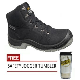 Harga Safety Jogger Desert S1P High Cut Men Safety Shoes Footwear Steel Toe (Black) with Free Safety Jogger Tumbler