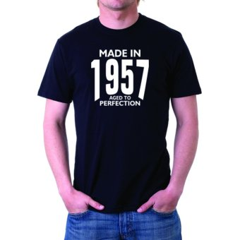 Harga Negativitee Mens Made in 1957 Aged To Perfection Shirt (Black)