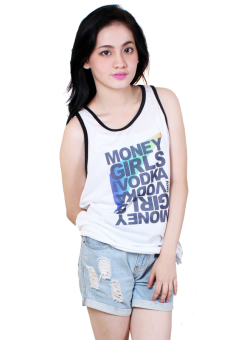 Harga Money Girls Vodka Quotable Printed White Sando