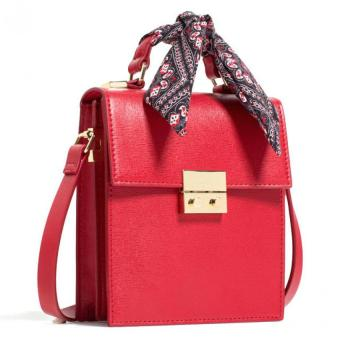 Zara Crossbody Bag with Scarf Details (Red) Price Philippines