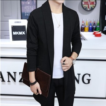 Men's Long Knitted Lapel Open Front Cardigan-Black - Intl Price Philippines