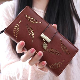 Lady Long Leather Purses Girls Leaf Charm Wallet - Coffee - intl Price Philippines
