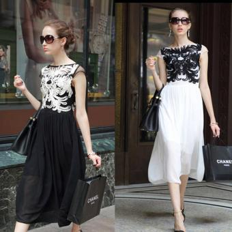 360WISH Sweet Women Slim Embroidery Splice Chiffon Long Dress Black-XL - intl Price Philippines