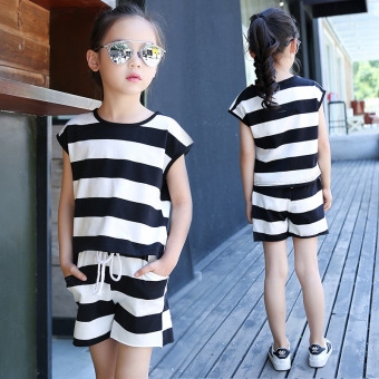 Stripe Clothing Sets for Gilrs Summer Clothes Suits for Girl Cotton Summer Tops+Pants Sets Kid Tracksuits Shirt+Shorts Price Philippines