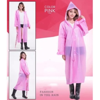Harga Raincoat Color Women and Men General Fashion Waterproof(Pink)
