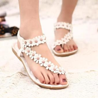 Harga 2016 Boho Women Flat Sandals Shoes Summer New Clip Toe Flowers Female Shoes (White) - intl