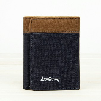 BYT Baellery Fashionable Trifold Canvas Trifold Men's Wallet 3688 (Blue) Price Philippines