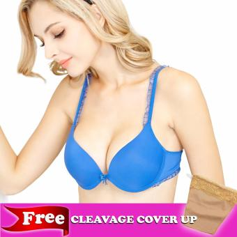 Harga Kara DSN# 1808-3 Yvette Push-up Bra with Lace Details (Blue)