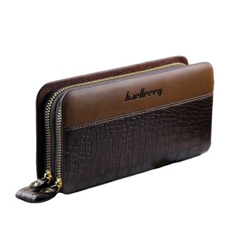 Unisex Long Double Zipper Clutch Crocodile Skin Purse Wallet (Brown) Price Philippines