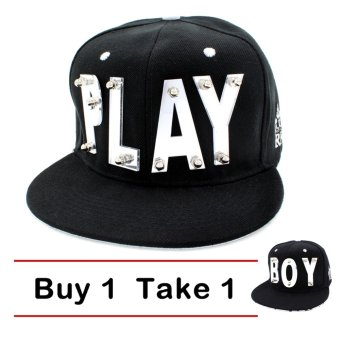 Harga CAP CITY Buy One Take One Unisex Glass Letter Plate PLAY BOY Snapback (White)
