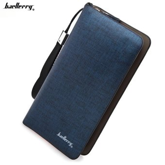 Baellerry Dull Polish Zipper Long Vertical Clutch Portable Wallet for Men Price Philippines