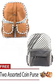 Harga Elena 9902 Backpack (Apricot) and Elena 9901 Backpack (Grey) Set of 2 with Free Two Assorted Coin Purse