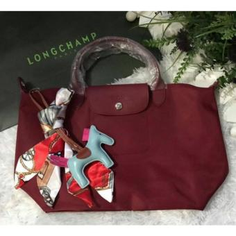 Harga LC Le Pliage Neo Medium short handle Free Twilly & Charm Original (MAROON) Made in France SHORT HANDLE