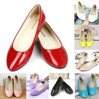 Harga 2016 Fashionable Flat Shoes Korean Women's Shoes Pointed Comfortable Casual Work Shoes (Yellow) - intl