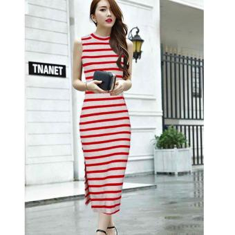 Harga Fashionista | Mi Na Casual & Elegant Women's Fashionable Korean Dress Stripe Design