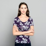 Huxley Loyda Printed Fitted Tee Scoop Back Details (Violet) Price Philippines