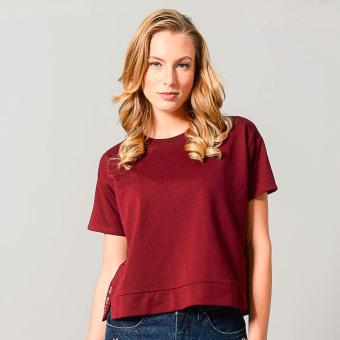 Harga Penshoppe Short-Sleeved Boxy Top (Dark Red)